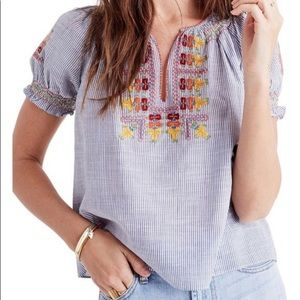 Madewell Embroidered Penny Peasant Blouse Large